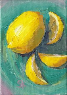 lemon kitchen art oil painting 5 x 7 Lemon Swirl por MadAboutHue