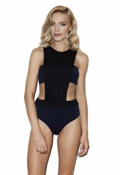$145- Navy strapless bikini combining black band front. #5pmswimwear #luxuryswimwear #blackandnavy #onepiece #swimwear #summer