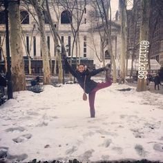 Standing bow pose in snow » Yoga Pose Weekly