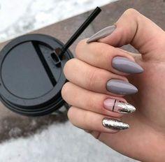 39 trendy fall nails art designs, fall nail art, fall art designs, autumn nail c. Cute Acrylic Nails, Cute Nails, Pretty Nails, Almond Acrylic Nails, Dark Nails, Long Nails, Perfect Nails, Gorgeous Nails, Manicure Natural