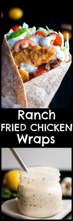 The ultimate wrap: tender fried chicken, tomatoes, iceberg lettuce, and avocado drizzled with a homemade ranch dressing. Everything is ready in just over half an hour! Pin for later :) (Chicken Wraps) Chicken Wraps, Carnitas, Paninis, Ranch Fried Chicken, Mexican Chicken, Chicken Tenders, Roasted Chicken, Baked Chicken, Homemade Ranch Dressing