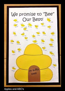 Apples and ABC's: BEE-havior Contract with bee fingerprints! Cute for younger classes. Classroom Rules, Kindergarten Classroom, Classroom Design, Classroom Themes, Classroom Organization, Spring Display Ideas Classroom, Classroom Contract, Primary Classroom Displays, Behavior Contract