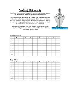 A spelling review spin on every child's favorite game - Battleship. Students place their words in a grid as a partner tries to find the words hidde...