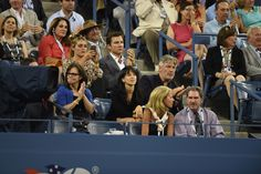 Actor Alec Baldwin and actress Sally Field enjoy a night session at the US Open