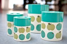 Set of 4 Aluminum Apple Canister Teal Lime Apple from Japan Vintage Canister Sets, Vintage Tins, Vintage Kitchen, Kitchen Canisters, Kitchenware, Tableware, Apple Prints, Mid Century Modern Kitchen, Apple Pear
