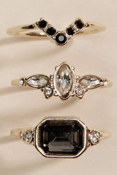 Gold Tone Vintage Effect Rings Two Pack