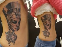 What does queen nefertiti tattoo mean? We have queen nefertiti tattoo ideas, designs, symbolism and we explain the meaning behind the tattoo. Forearm Tattoos, Body Art Tattoos, Girl Tattoos, Sleeve Tattoos, Tatoos, Tattoo Sleeves, Dope Tattoos, Egyptian Queen Tattoos, Afrika Tattoos