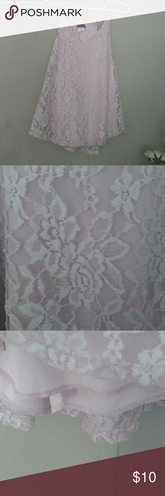Lace Tank Top Tank top ,light pink see through with satin underlay. Rose pattern.No bra need unless u want it.no padded bra but u can't see through it.V shaped in front.Size xl but to me it can fit a M to a small xl. top fashion new york Tops Camisoles