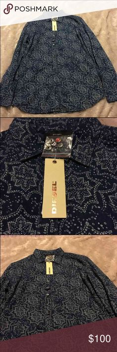 Diesel Men's Long Sleeve Print Shirt Diesel Men's Long Sleeve Print Shirt Diesel Shirts Casual Button Down Shirts