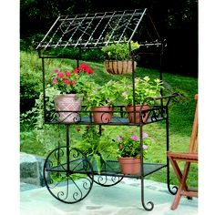 Wrought Iron Flower Cart Plant Stand