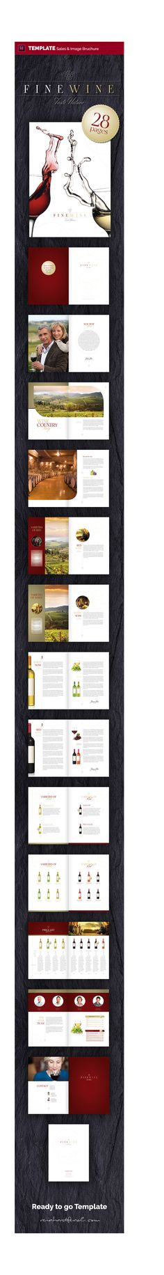 FINE WINE - Sales & Image Brochure - 28 pages template Just fill in your text and your pictures and you are ready to go. Invitation Mockup, Button Decorations, Wine Sale, Sales Image, Photo Link, Fine Wine, Grafik Design, Coffee Recipes, Vector Background