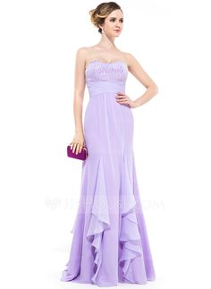 5c29b994d22e Empire Sweetheart Floor-Length Chiffon Evening Dress With Beading Sequins  Cascading Ruffles (017047380)