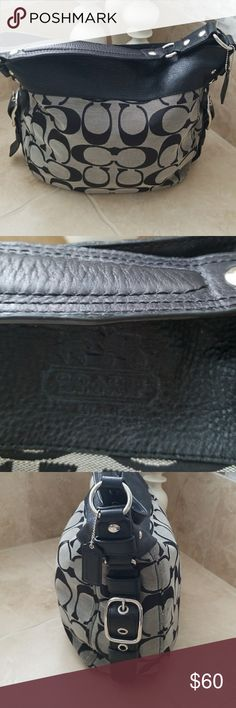 """Coach Purse Handbag black/Gray with leather trim Used Coach purse size 15"""" x 12"""" very spacious. No tears and no rips. Coach Bags Shoulder Bags"""