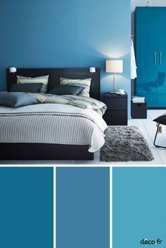 Ciel, turquoise, indigo ou pâle… Le bleu est la couleur qui invite à l'évasion et à la détente. Nuance idéale dans la chambre, le bleu est propice au repos.