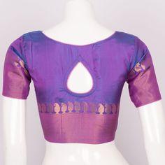Buy online Handwoven Purple Kanchipuram Silk Blouse With Zari, Padding, Regular Sleeve & Tear Drop Back 10013152 - Size 36