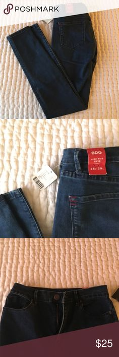 BDG high-rise Twig Jeans BDG high-rise twig jeans, size 26w 29l. Brand new with tags, just don't fit anymore! Navy in color; will trade for a 27! BDG Jeans