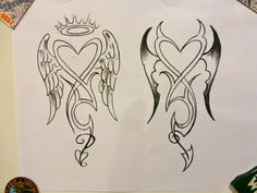 Angel & Devil Tattoo Concept #1 - By Mark DiCarlo... I like this, but would modify it by combining the 2 designs into one, the angel on the left w/tilted halo & devil on the right.  Also, split the tail design accordingly