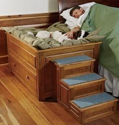 dog bed with steps next to your bed
