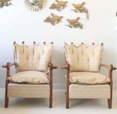 Rare pair Guillerme & Chambron oak armchairs French 50s 60s vintage retro in Antiques, Antique Furniture, Chairs | eBay