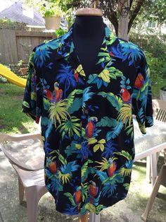 fadcd72d1 Mens Vintage Black RJC Hawaiian Shirt Tropical Parrots Size 2XL #RJC  #ButtonFront