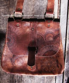 Vintage leather satchel upcycled with henna mehndi pyrographed designs on Etsy