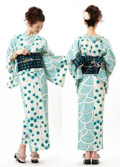 Furifu modern green polka dots pattern kimono