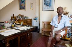 one of South Africa's most treasured and Talented artists, passed away on the of April 2014 at 84 years of age. Photo of Peter Clarke at his Ocean View home and studio January Age Photo, South African Artists, January, Ocean, Studio, Home Decor, Decoration Home, Room Decor, The Ocean