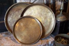 Moroccan Brass Trays ~ Cookware Trays ~ Containers ~ Online Flea ~ Artisanaworks