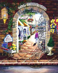 The Courtyard - SOLD by Mary Irwin Watercolors, via Flickr