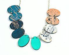 #Lasercut pendant #geometric #necklace #Bluecolorblock #wooden #necklace #bestofEtsy  #minimalistjewelry