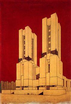 """antonio sant'elia - in """"manifesto dell'architettura futurista"""", cathedral (1914) (coloured version)"""