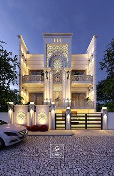 Lighting Effect-Islamic Architecture Modern Small House Design, Modern Exterior House Designs, Modern Villa Design, Classic House Design, Latest House Designs, Classic Architecture, Islamic Architecture, Facade Architecture, Architecture Sketches