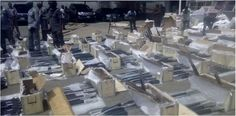 NIGERIAN CUSTOMS SEIZES CONTAINER OF 49 BOXES CONTAINING 661 AK 47 RIFLES IN LAGOS