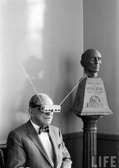 The Father of Science-Fiction, Hugo Gernsback, watching TV on his  Television Glasses 4b14793797
