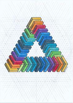 #isometric #penrosetriangle #geometry #symmetry #pattern #rainbow #pencil #escher #oscarreutersvärd #mathart #regolo54