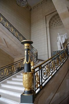 """ganymedesrocks: """" """"Chateau de Compiegne, Apollon's Staircase. """" What Better Way to Celebrate September's Last Week: Ascending! Staircase Railings, Grand Staircase, Stairways, Iron Stair Railing, Wrought Iron Stairs, Railing Design, Staircase Design, Grande Cage D'escalier, Grill Design"""