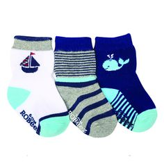 Robeez Socks Sailin' and Whalin' nautical blue, white and grey boy socks The Robeez Sailin' and Whalin' themed socks will make a splash with your little one. Featuring nautical shades of navy with a sailboat, stripes and whale, these socks are cotton rich and kick proof for squirming babies and little ones.