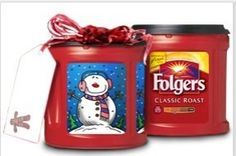 Use folgers coffee buckets to make CHRISTMAS gift baskets