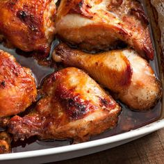 Asian-Marinated Baked Chicken Recipe Main Dishes with soy sauce, dark brown sugar, fresh ginger, chopped garlic, toasted sesame oil, ground black pepper, bone in skin on chicken thigh