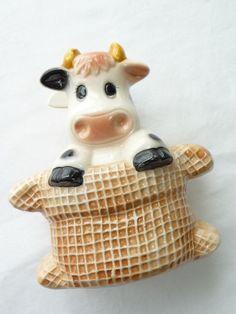 Vintage Napkin Holder Cow Napkin Holder Ceramic by myvintagedreams