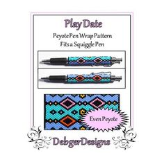 Play Date Pen Wrap-Beaded Flat Peyote Pattern