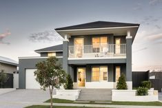 apg homes - Cove Display Home - Hamptons style front elevation House Exterior Color Schemes, White Exterior Houses, Exterior Paint Colors For House, Modern Exterior, Exterior Design, Exterior Colors, Rendered Houses, Hamptons Style Homes, Modern House Facades