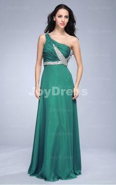 green dresses for prom,Crystal A-line One Shoulder Floor-length Dress