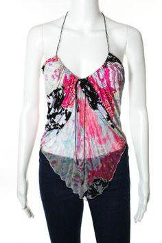 EMANUEL-UNGARO-Multicolored-Floral-Silk-Sheer-Ruched-Tied-Halter-Top-Sz-38