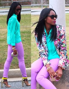 Floral blazer; I love everything but the shoes. Please take those shoes off!!!