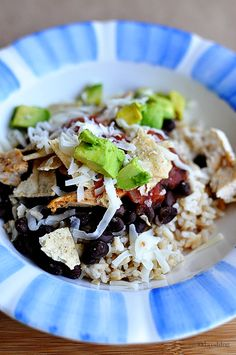 Healthy Dinner Ideas:  Make a burrito bowl.  Sooo good and simple to make! www.thirtyhandmadedays.com