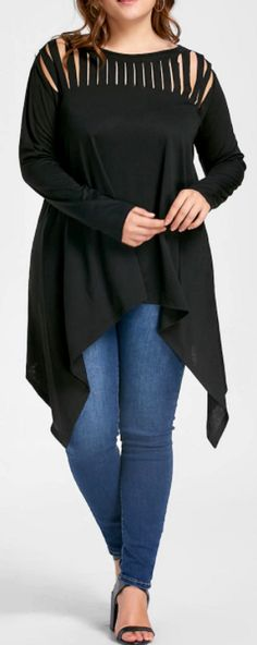 PLUS SIZE RIPPED OPEN SHOULDER TOP - Casual long tunic blouse with strappy ripped cut-out detail at neckline. Comes in black, blue, purple or wine red. Chic & flattering asymmetric crescent  hem drop shoulder women's two piece LBD party outfit idea. So cute for semi formal occasion, wedding, dinner date, work, school, or girls night out.. Curvy girl fashion, plus size clothing, curvy fit, edgy bold boho fashion street style, bbws, big girls full figured. Affiliate Link