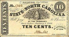 €~North Carolina 10 Cents 1862