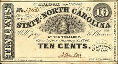€~North Carolina 10 Cents 1862