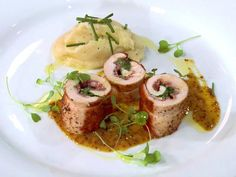 Roasted Chicken Roulade with American Triple Cream and Georgia Ham Recipe : Bobby Flay : Food Network - FoodNetwork.com